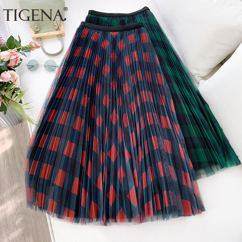 TIGENA Cute Plaid Tulle Skirt Women Fashion 2020 Spring Summer Korean School Checked High Waist Pleated Maxi Skirt Female Lady