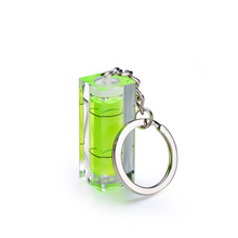 10PCS mini Green Color  Acrylic Square Spirit Level With Key ring for adjusting angle measurment Level Bubble tool qase 10 10 29 mm square spirit level bubble with magnetic stripe transparent or green 1 piece