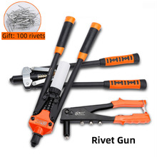 Heavy Duty Hand Rivet Gun Includes 100pcs Rivets Environmental Protection and Labor-saving For Household Manual PortableTools