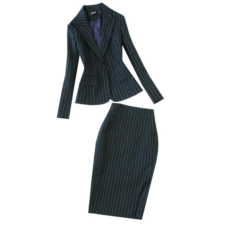 Winter high quality business suit set two-piece Slim blue striped suit female Casual trousers suit skirt set Women's suits 2019