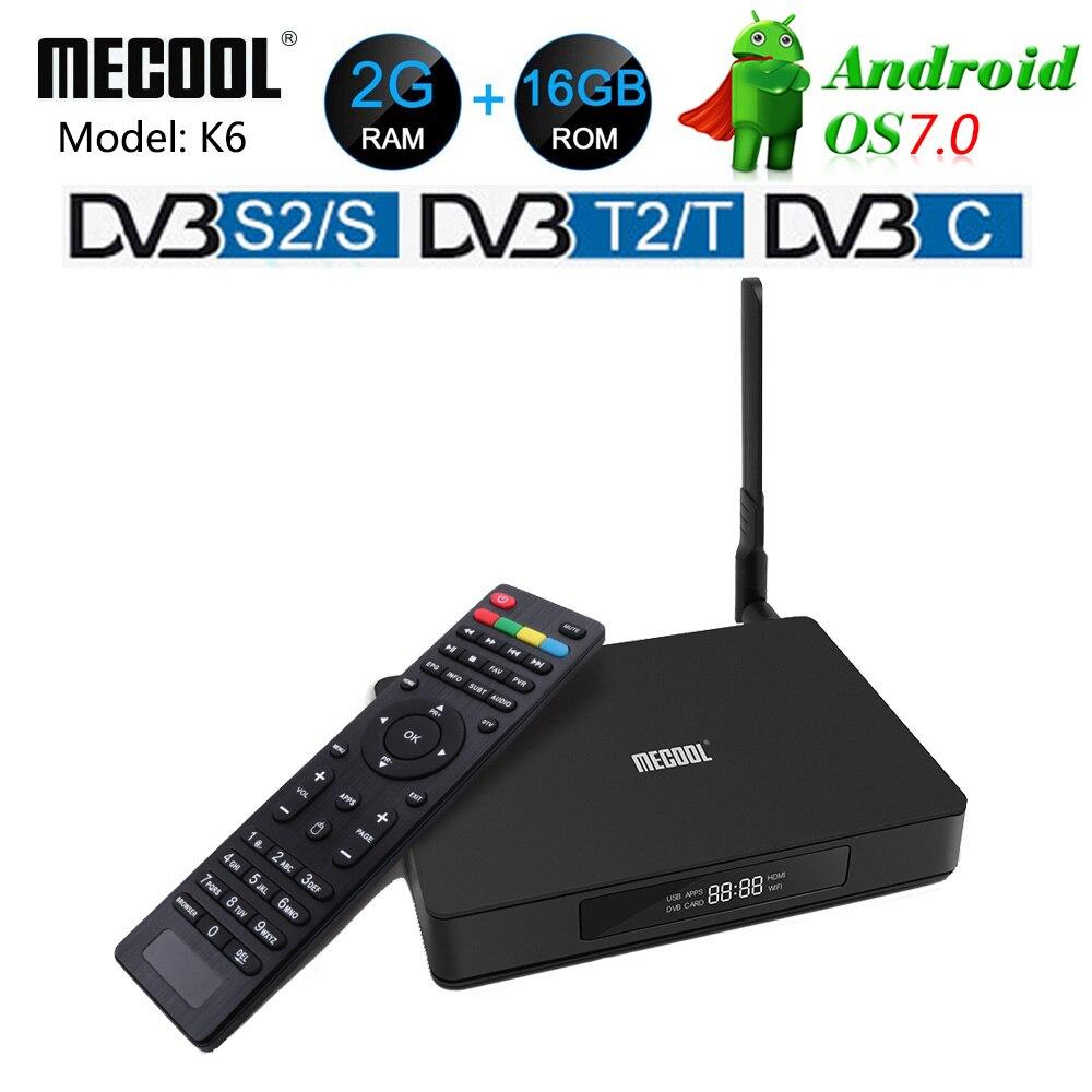MECOOL K6 DVB-T2 DVB-S2 Intelligent Android 7.0 Boîte de télévision Hisilicon HI3798M Quad Core 2 GO RAM 16 GO eMMC 4K Décodeur DVB-C Lecteur Multimédia