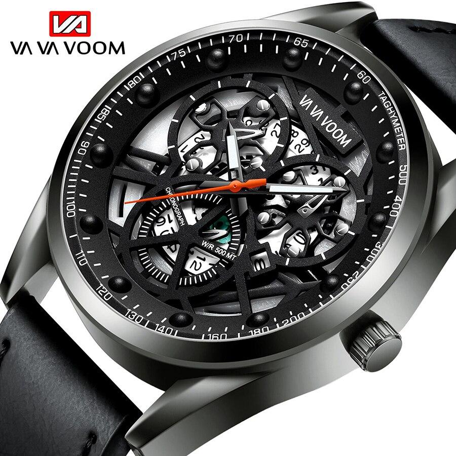 VA VA VOOM Top Brand Watch Men Sport Quartz Watches Male Date Hollow dial Wrist watch Leather Strap Men's Watch erkek kol saati