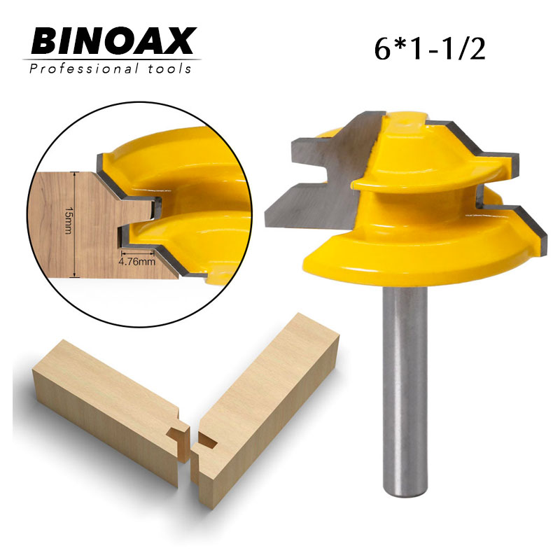 "45 Degree - Up To 3/4"" Stock Lock Miter Router Bit Tongue And Groove Router Bit Set-6mm Shank"