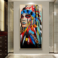 Indian Women With Colorful Feather Canvas Painting Oil Painting Large Size Wall Art Poster and Prints Home Decorative Picture