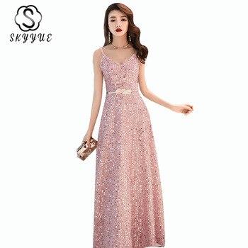 Long Evening Dress Skyyue ER491 Elegant Sleeveless V-neck Evening Gowns For Women Pink Sequined Robe De Soiree Evening Dresses