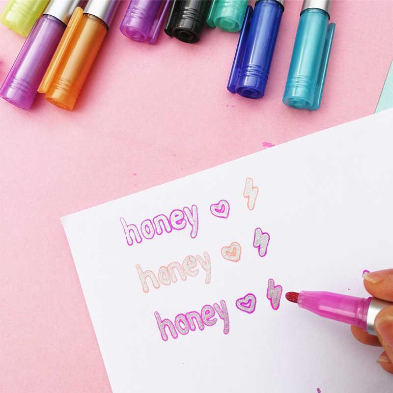 8 renkler metalik çift hatları sanat belirteçleri Out hattı kalem kırtasiye sanat çizim kalemler kaligrafi yazı renk Scrapbooking