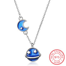 New Fashion Drop Glaze Blue Sky Moon Star 925 Sterling Silver Necklace Fine Jewelry For Women Gift S-n09(China)