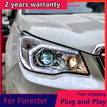 KOWELL Car Styling For Subaru Forester Headlights 2013-2016 LED Headlight DRL H7 D2H Hid Option Angel Eye Bi Xenon image
