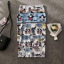 Women's Pencil skirt New Cartoon Mouse Print High Waist Slim Summer Large Size Skirts jupe crayon femme Faldas Mujer Moda 2020