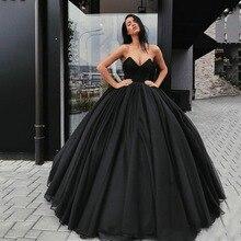 Eightree 2020 vestidos De boda góticos Vintage negro Vestido De novia sin tirantes Simple Vestido De novia De país