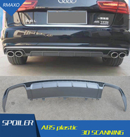 For Audi A6 S6 Body kit spoiler 2016 2017 For Audi A6 RS6 dd ABS Rear lip rear spoiler front Bumper Diffuser Bumpers Protector