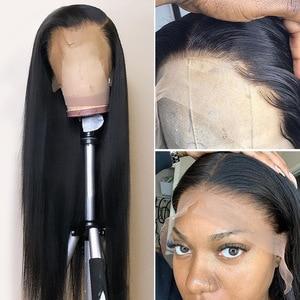 Image 3 - Rosabeauty 28 30 polegada frente do laço perucas de cabelo humano preplucked peruano em linha reta 250 densidade peruca frontal preto