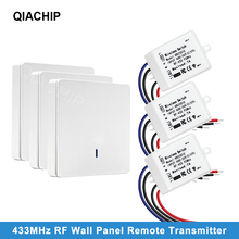 QIACHIP 433MHz Universal Wireless Remote Control Switch AC 110V 220V 1CH Relay Receiver Module & Wall Panel RF Remote Controls