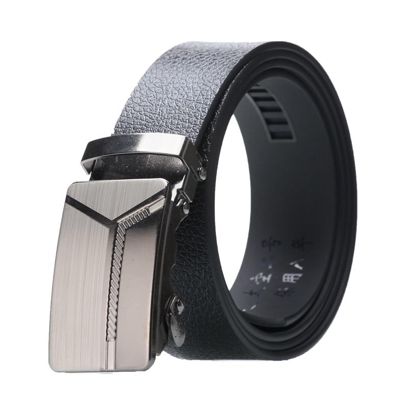 Men's Alloy Automatic Buckle Belt Simple Style Bark Texture Business Fashion Casual Jeans Belt