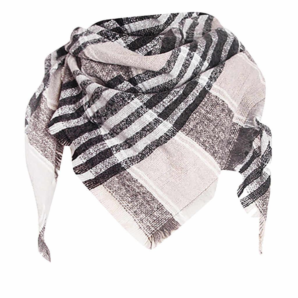 2019 Nova Moda cachecol mulheres luxo Moda Contrato Cor Envoltório das Mulheres Longo Inverno Quente Stripe Grande foulard femme