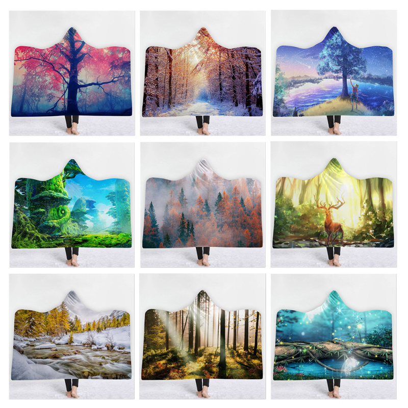 Landscape Woods Hat Blanket Adult Hooded Coral Fleece Warm Wearable Blanket Wool Blanket Winter blankets plaid <font><b>150</b></font> * <font><b>200</b></font> Large image
