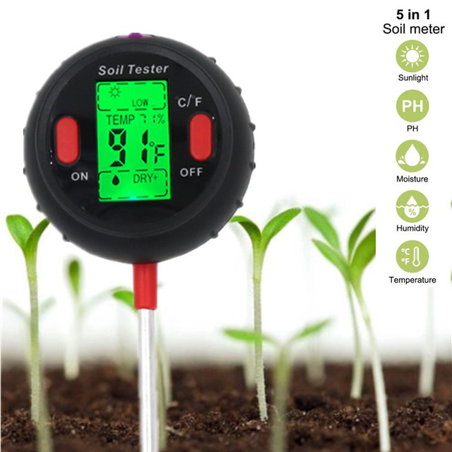 5 in 1 PH Soil Tester Water Moisture Meter Humidity Thermometer Photometer Water Meter Garden Plants Hydroponics Analyze 40%off
