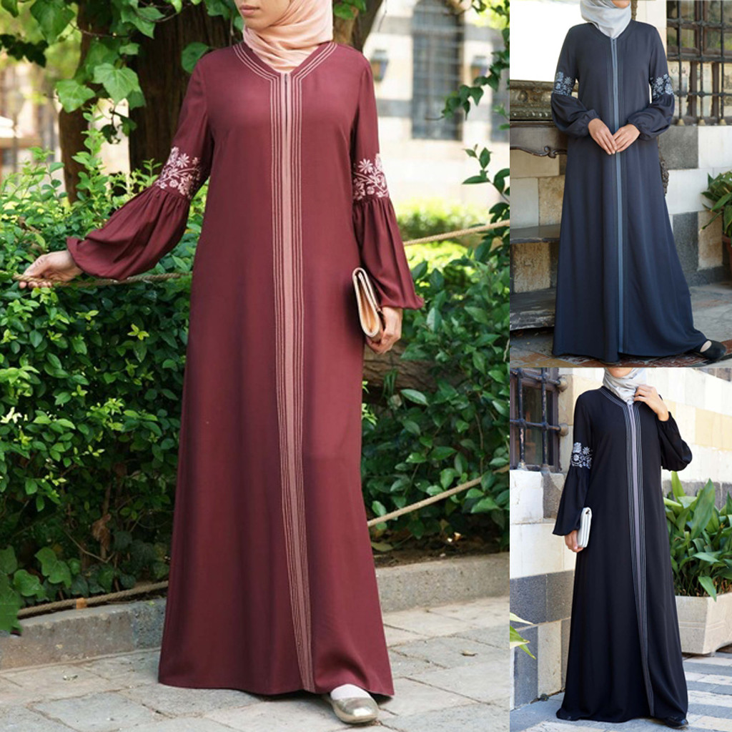 Women Muslim Dress Kaftan Arab Jilbab Abaya Islamic Lace Stitching Maxi Dress