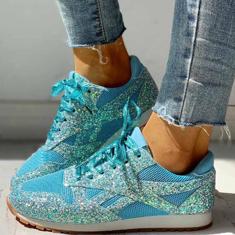Zapatillas de otoño mujer plana Bling Casual vulcanizada zapatos de mujer malla con cordones para caminar para mujeres zapatos de mujer de talla grande
