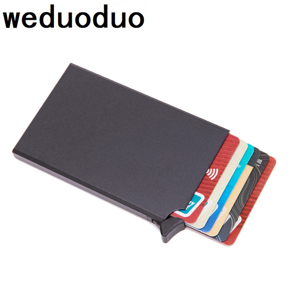 Weduoduo RFID Anti-theft Card Holder Thin ID Credit Card Holder Unisex Automatically Solid Metal Bank Card Wallet Business Mini