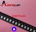 100 шт. 1206 фиолетовая/ультрафиолетовая smd супер яркая лампа, светоизлучающие диоды 390-410NM 3 .. 2*1,6*0,8 мм SMD 1206 светодиодный ные диоды