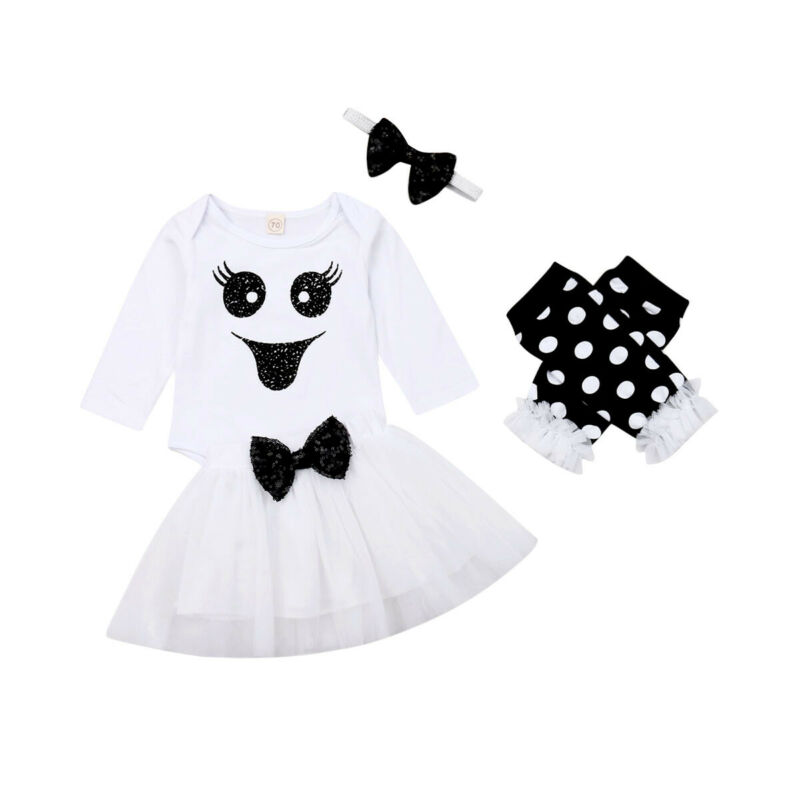 2019 New Newborn Baby Girl 4pcs Halloween Fancy Clothes Long Sleeve Romper Tops+Tutu Skirt Clothing Outfits 0-24M Dropshipping