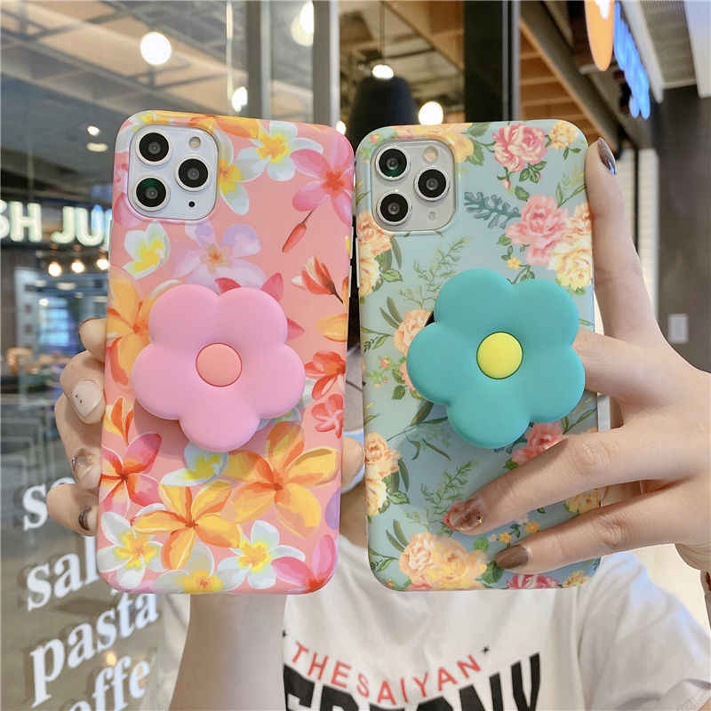 Vintage Leuke Bloem Bladeren Standhouder Case Voor Iphone 11 11Pro Max Xr Xs Max X Xs 7 8 Plus 11Pro Se 2020 Vouwen Beugel Cover