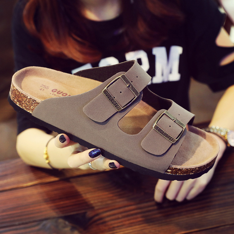 Image 4 - 2019 New Men's Leather Mule Clogs Slippers High Quality Soft Cork Two Buckle Slides Footwear For Men Women Unisex 35 46-in Slippers from Shoes