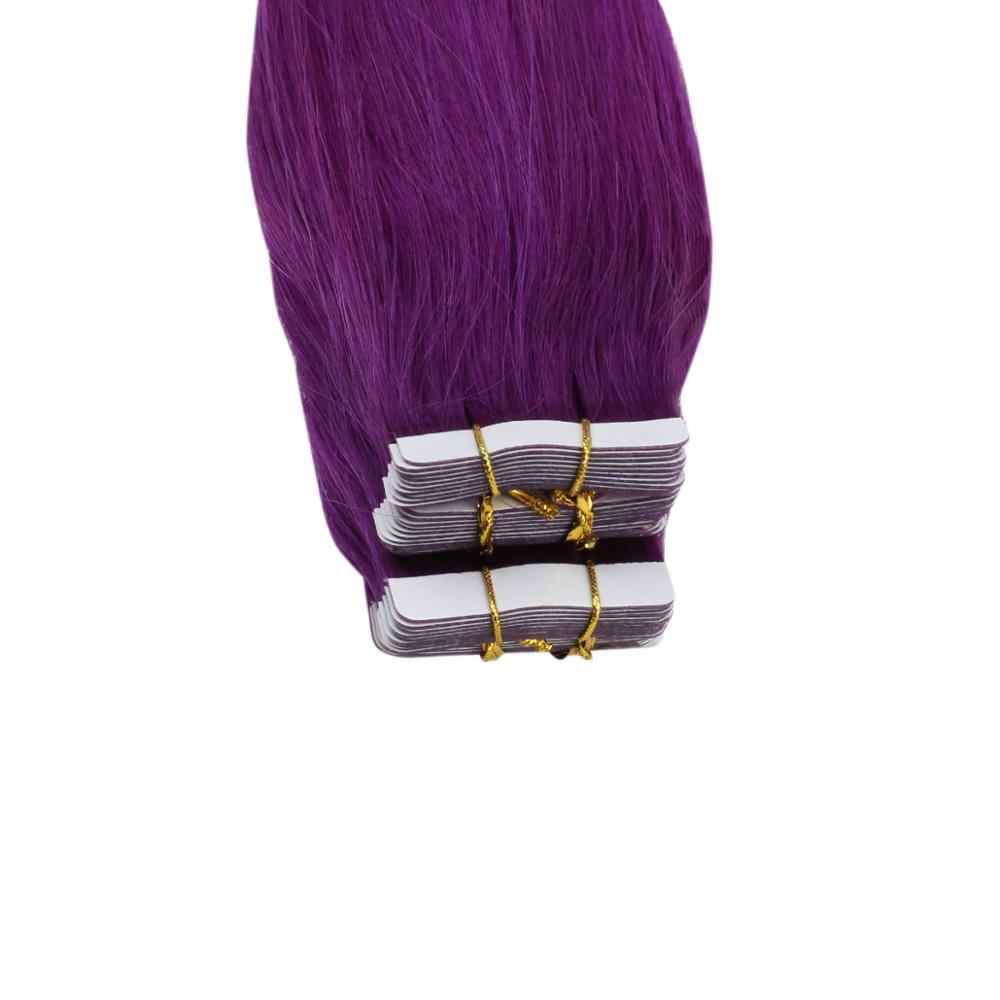 Vesunny 粘着テープ毛延長本物の人間の髪のシームレスなスキン横糸テープカラフルな無地 2。5gr/pc