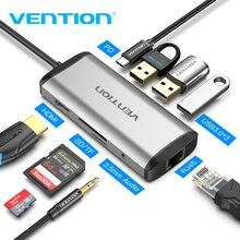 Chính Hãng Vention USB Loại C Sang Type C Sang HDMI VGA USB 3.0 Điện PD 3.5Mm Âm Thanh RJ45 Ethernet Adapter đầu Đọc Thẻ SD/TF USB Hub Mới