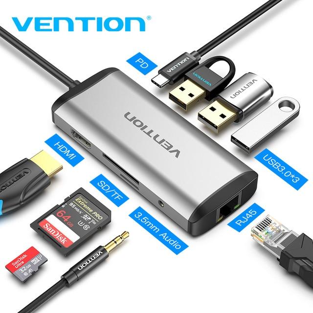 Vention USB نوع C محول نوع C إلى HDMI VGA USB 3.0 PD الطاقة 3.5 مللي متر الصوت RJ45 إيثرنت محول SD/TF قارئ بطاقات USB محور جديد
