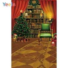 купить Yeele Christmas Backdrop Tree Bookshelf Curtain Newborn Baby Birthday Background Custom Photocall Photography  For Photo Studio дешево