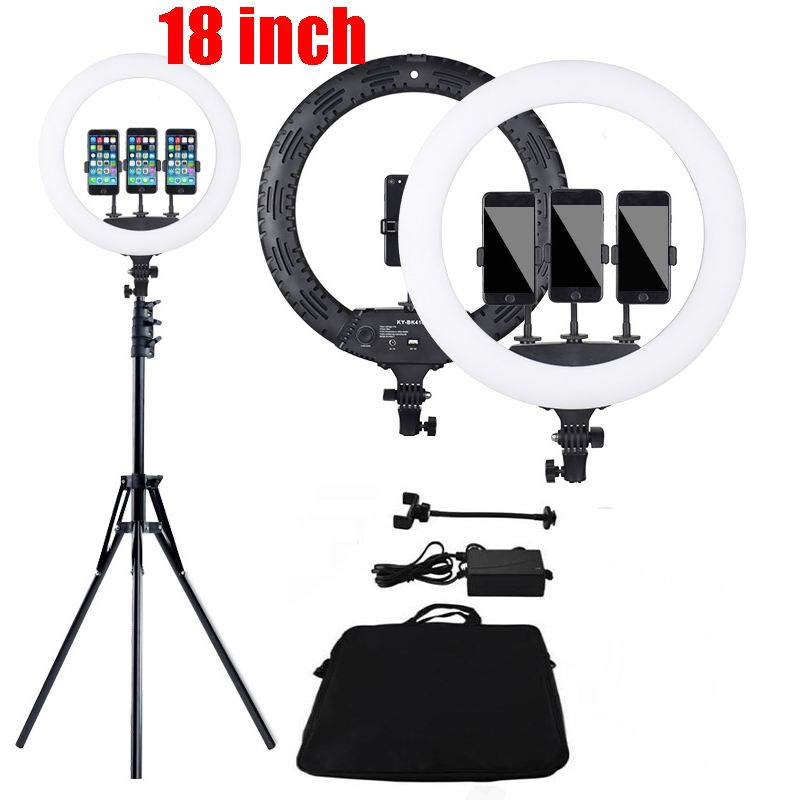 18 pouces LED anneau lumière Photo Studio éclairage 416 pièces LED photographie Dimmable anneau lampe avec 2.1M support pour le maquillage, YouTube vidéo