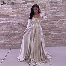 Formal-Dress Party-Gowns Embroidery Satin Dubai Moroccan Caftan Long-Sleeves Evening