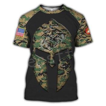 Tessffel America Marine Camo Skull Soldier Army NewFashion Casual 3DPrint Unisex Summer Funny T-Shirt Short Sleeve Men/Women B-3 2