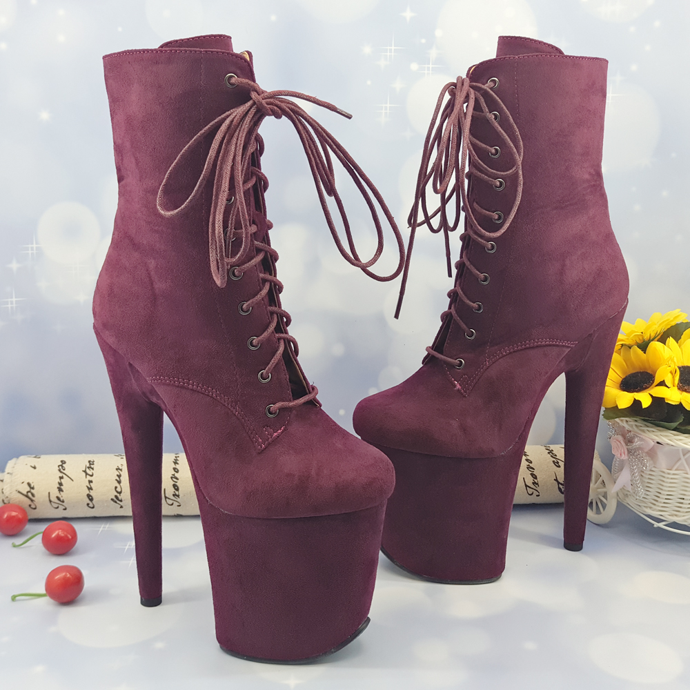 Leecabe  20CM/8inches suede Pole dance shoes High Heel platform Boots closed toe Pole Dance boot