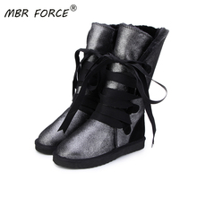 MBR FORCE New High Quality Waterproof Classic Snow Boots Genuine Leather Fur Women Boots Fashion Warm Winter Boots US 3-13