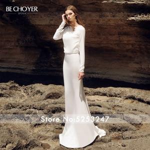 Image 2 - BECHOYER Simple Long Sleeve Wedding Dress 2020 Fresh Backless Mermaid Train H Quality Customized Bride Vestido de Noiva AB35