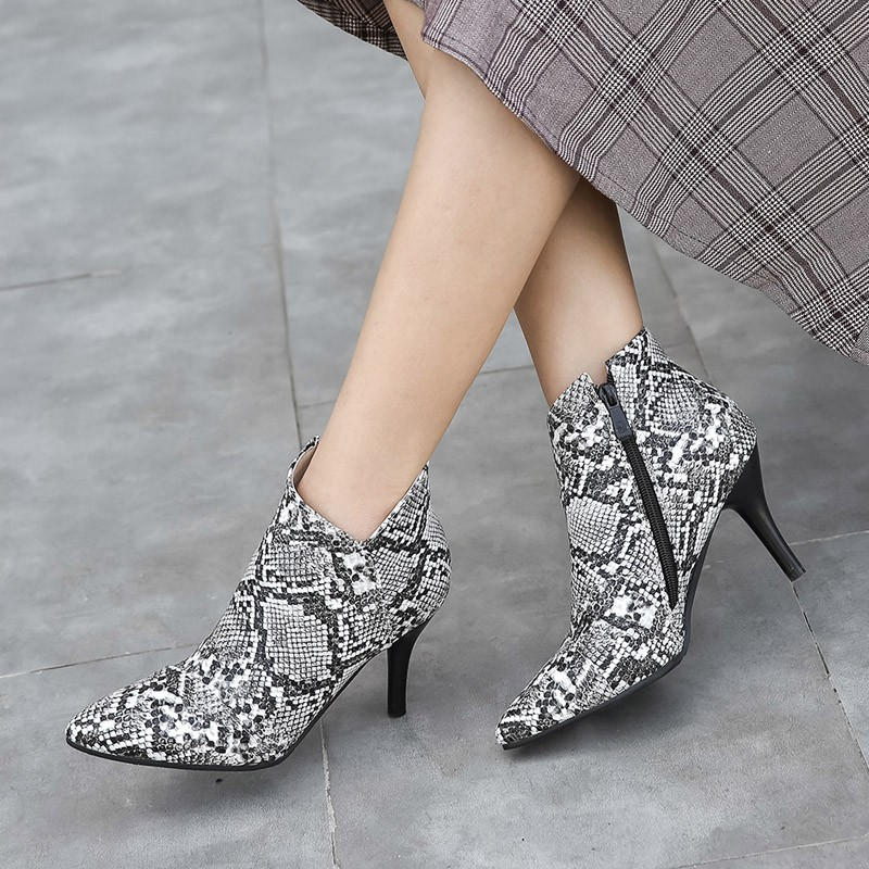 Fashion autumn winter <font><b>V</b></font>-cut ankle boots for women 2020 new thin high heels snake print shoes ladies black booties big size 45 <font><b>47</b></font> image