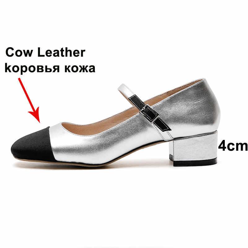 Meotina Hoge Hakken Vrouwen Mary Janes Schoenen Natuurlijke Lederen Gesp Dikke Hak Schoenen Koe Lederen Gemengde Kleuren Pompen Lady 40