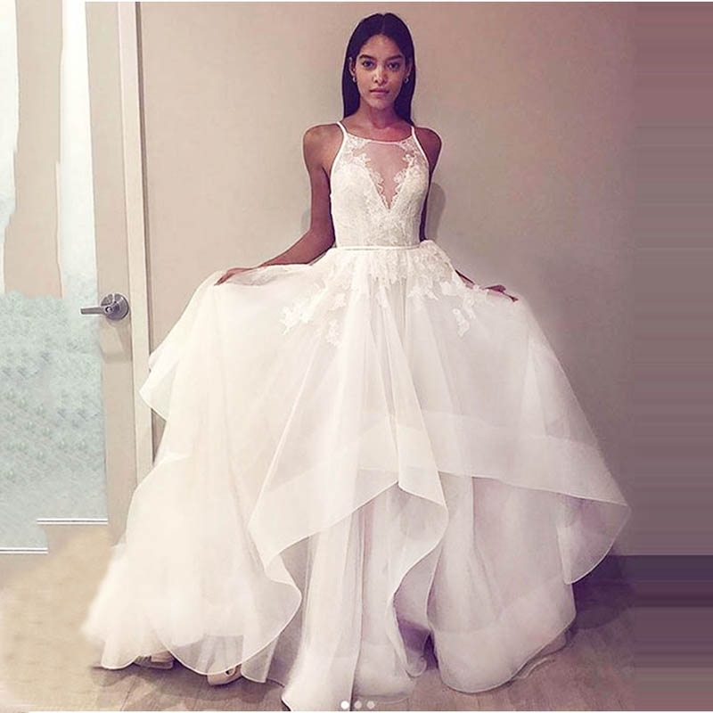 Aline Lace Wedding Dresses  Elegant 2019 Open Back Sleeveless Bride Dress Princess White Fluffy Wedding Gowns Robe De Mariee