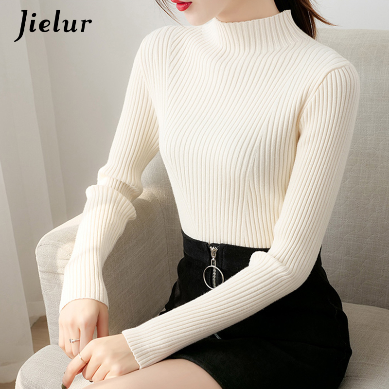 Jielur 2020 Winter New Turtleneck Sweaters Female Slim Leisure White Korean Sweater Women Chic Soft Simple Black Knitwear S XL