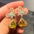 New Fashion Pear Shaped Water Drop Yellow Zircon Women's Earrings Trendy Women's Bow Earrings Jewelry