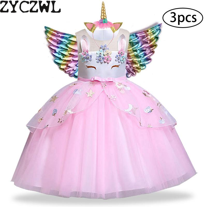 New Girls Dress 3pcs Kids Dresses For Girl Unicorn Party Dress Christmas Carnival Costume title=