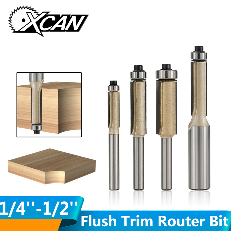 XCAN 1pc 1/4'' 1/2'' Shank Wood Router Bit Wood Milling Cutter Template Trim Router Bit Pattern Flush Trimm Straight Router Bit