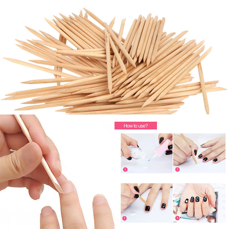 10pcs Wooden Cuticle Pusher Double End NNail Art Cuticle Remover Orange Wood Sticks For Cuticle Removal Manicure Nail Art Tools