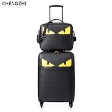 """CHENGZHI 1"""" 20"""" 24 дюймов Монстр личность Сумки на колёсиках набор Spinner большой емкости из искусственной кожи тележка Дорожный чемодан на колесиках"""