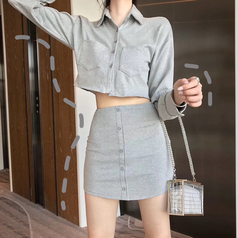 TVVOVVIN Long Sleeve Lapel Single Row Buckle Short Fund Jacket Package Buttocks Self-cultivation Half-body Skirt Twinset ZX209