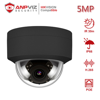 Anpviz (Hikvision Compatible) IPC-D250B 5MP Dome POE IP Camera With Audio Home/Outdoor Security IR 30m Network Cam ONVIF H.265 hikvision ds 2cd3135f i chinese version h 265 3mp dome ip camera ir 30m support onvif poe security camera