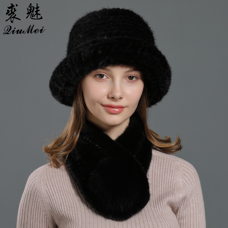 Real Fur Fedoras Hat And Scarf Set For Women Knitted Warm 2 Pieces  Luxury Muffler Winter Bucket Hats Natural Fur Scarf Mink Set